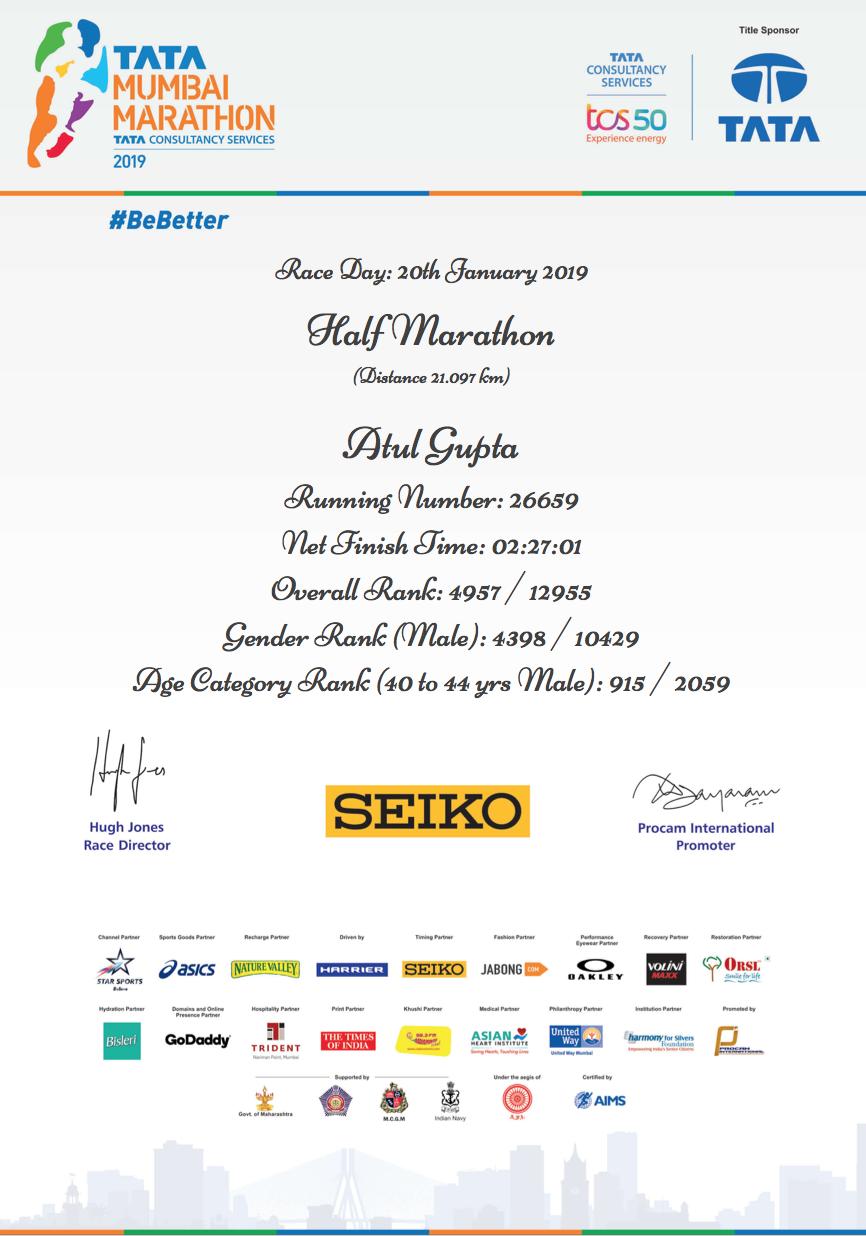 Tata Mumbai Marathon 2019-Atul Gupta
